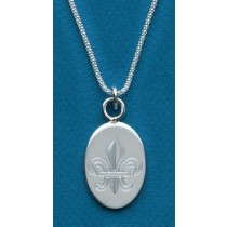 Fleur de lis Engraved Extra Large Oval Pendant with Chain
