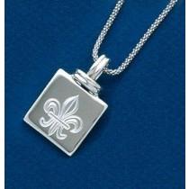 Fleur de lis Engraved Square Shaped Pendant with Chain