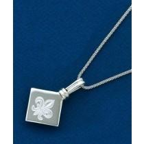 Fleur de lis Engraved Diamond Shaped Pendant with Chain