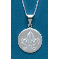 Fleur de lis Engraved Large Circle Pendant with Chain