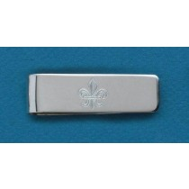 Fleur de lis Engraved Small Money Clip