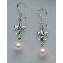 Fleur de lis Lightweight with Pearl Earrings