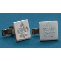 Fleur de lis Engraved Square Cuff Links