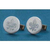Fleur de lis Engraved Circle Cuff Links