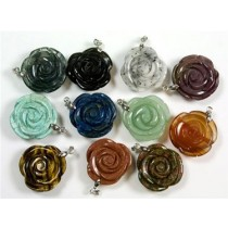 Gemstone Carved Rose Pendant