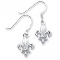 Fleur de lis CZ Dangle Earring