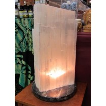 Selenite Lamp on Fossil Base