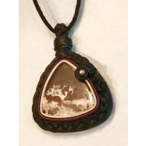 Leather Woven Agate with Pearl Pendant