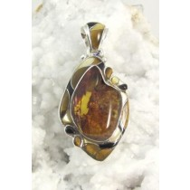 Amber with Tiger Eye and Mother of Pearl Pendant