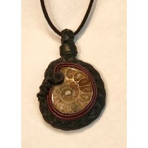 Leather Woven Ammonite Pendant