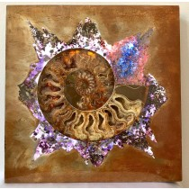 Ammonite & Gemstone Lighted Metal Art