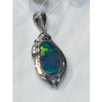 Australian Opal Oval Wave Slide Rhodium Plated