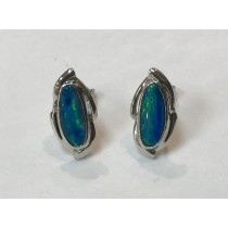 Australian Opal Rhodium Plated Post Earrings