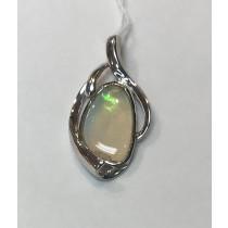Australian White Opal Pendant Rhodium Plated