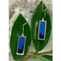 Blue Mountain Butterfly Rectangle Earrings