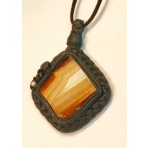 Leather Woven Carnelian Pendant