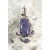 Charoite with Mother of Pearl Inlay Pendant