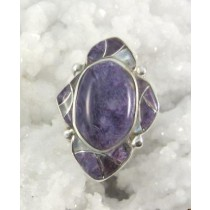 Charoite with Mother of Pearl Inlay Ring