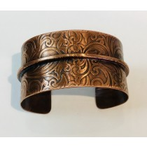 Copper Single Fold Paisley Cuff Bracelet