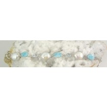 Cultured Freshwater Coin Pearl with Larimar and Blue Topaz Bracelet
