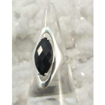 Black Onyx Faceted Oblong Ring