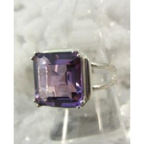 Amethyst Faceted Prong Set Ring