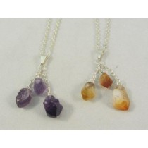 Amethyst and Citrine Triple Stone Pendants