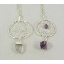 Quartz and Amethyst Dreamcatcher Pendants