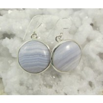 Blue Lace Agate Round Cabachon Earrings