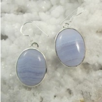 Blue Lace Agate Oval Cabachon Earrings