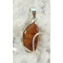 Amber Polished Wirewrap Pendant