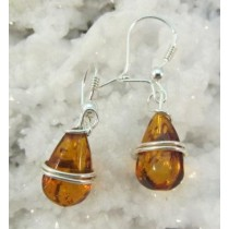 Amber Teardrop Wirewrap Earrings
