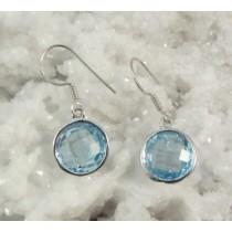 Blue Topaz Cushion Cut Round Earring