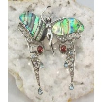Abalone and Garnet Fairy Slide or Brooch