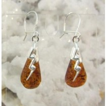 Amber Honey Lightning Strike Earrings