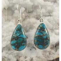 Copper Turquoise Teardrop Earrings