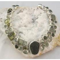 Moldavite with Prehnite Multi Gem Necklace