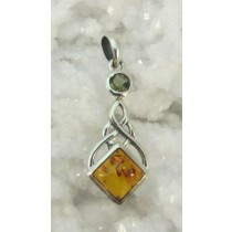 Amber and Moldavite Pendant