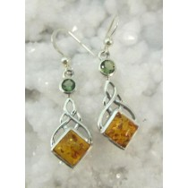 Amber and Moldavite Earrings