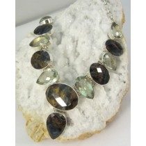 Pietersite & Green Amethyst Faceted Necklace with Adjustable Toggle Clasp