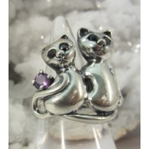 Adjustable Cats with Black Onyx Eyes Ring