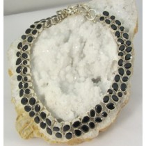 Black Onyx Faceted Necklace with Adjustable Toggle Clasp