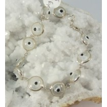 Evil Eye Clear Glass & Sterling Silver Bracelet