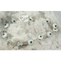 Evil Eye White Glass & Sterling Silver Bracelet