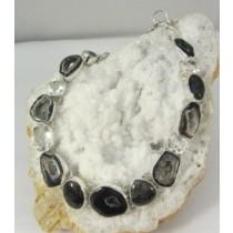 Geode Polished Druzy with Quartz Necklace with Adjustable Clasp
