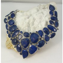 Lapis Faceted Multi Stone Necklace with Adjustable Toggle Clasp