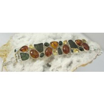 Amber with Moldavite & Citrine Bracelet with Adjustable Toggle Clasp