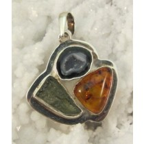 Amber with Geode & Moldavite Pendant