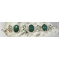 Chrysocolla Cabachon with Green Amethyst Bracelet with Adjustable Toggle Clasp