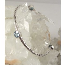 Blue Topaz Faceted Triple Stone Bangle